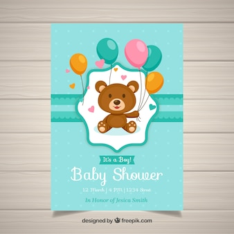 Baby shower invitation template with teddy