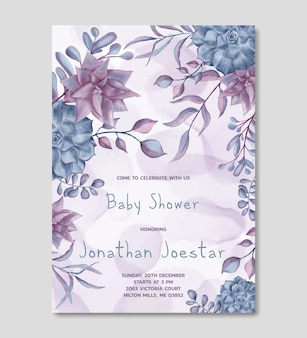 Baby shower invitation template with watercolor floral background