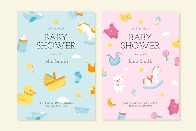 Modello di invito per baby shower Vettore gratuito