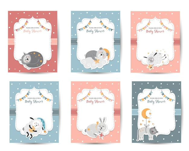 Baby shower invitation templates with cute animals for babies