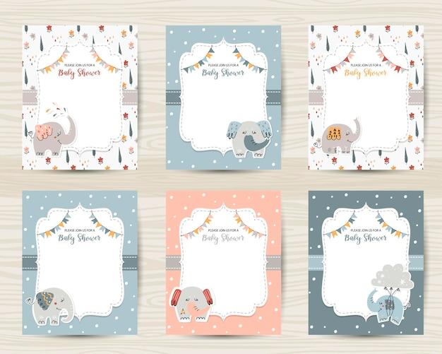 Шаблоны приглашений на детский душ с милыми слониками