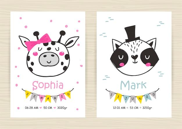 Baby shower invitation templates with giraffe, raccoon