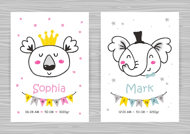 Baby shower invitation templates with koala and elephant