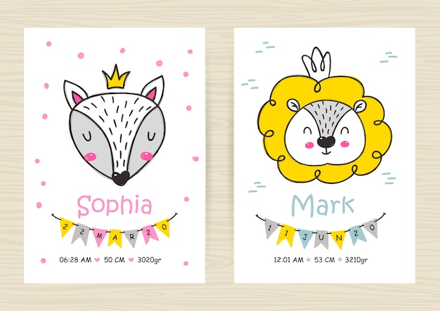 Baby shower invitation templates with lion and fox