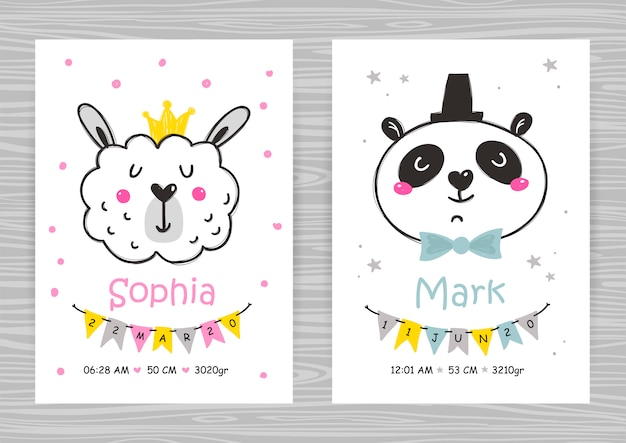 Baby shower invitation templates with panda and llama