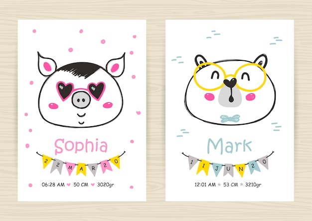 Baby shower invitation templates with pig and bear