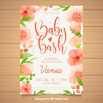 Baby shower invitation in watercolor style