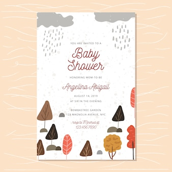 Baby shower invitation with autumn rain forest background