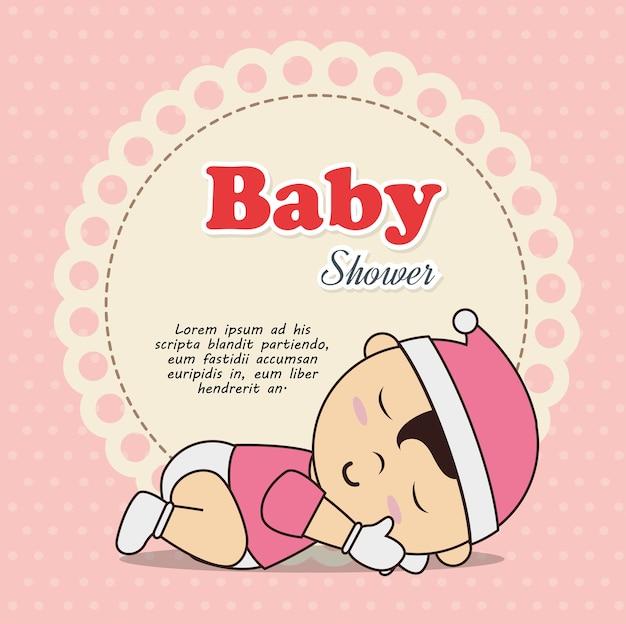 赤ちゃんと寝ている赤ちゃんのシャワーの招待状