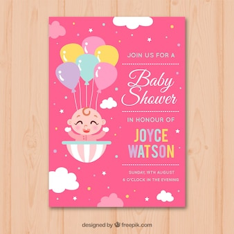 Baby shower invitation with baby girl in hand drawn style