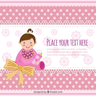 Baby shower invitation with baby girl