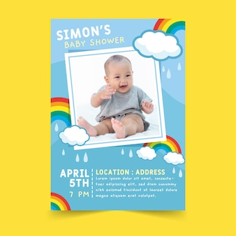 Baby shower invitation with baby photo
