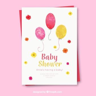 Invito della doccia di bambino con palloncini in stile acquerello