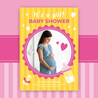 Baby shower invitation with beautiful pregnant woman