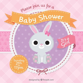 Baby shower invitation with a beautiful rabbit