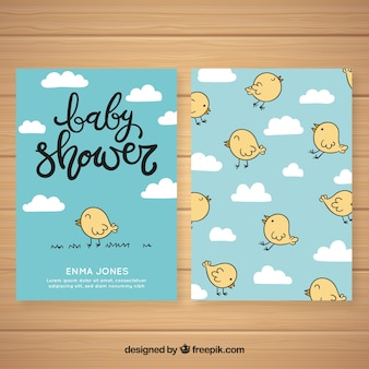 Baby shower invitation with birds
