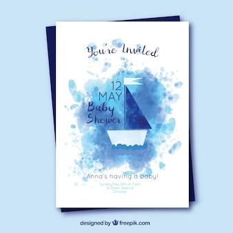 Invito dell'acquazzone di bambino con la barca nello stile dell'acquerello