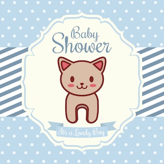 Baby shower invitation with cat icon