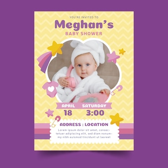 Baby shower invitation with child
