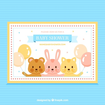 Baby shower invitation with cute animals in flat style