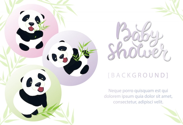 Baby shower invitation with cute baby panda illustration