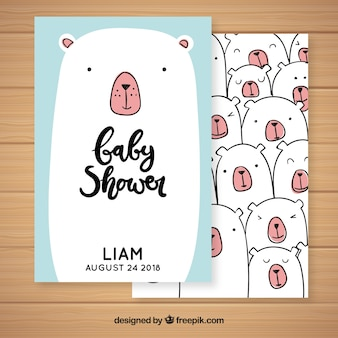 Baby shower invitation with cute bears