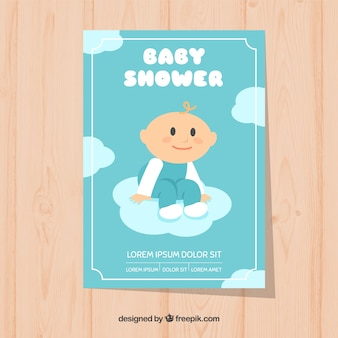Baby shower invitation with cute boy Free Vector