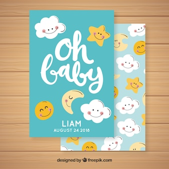 Baby shower invitation with cute clouds and stars