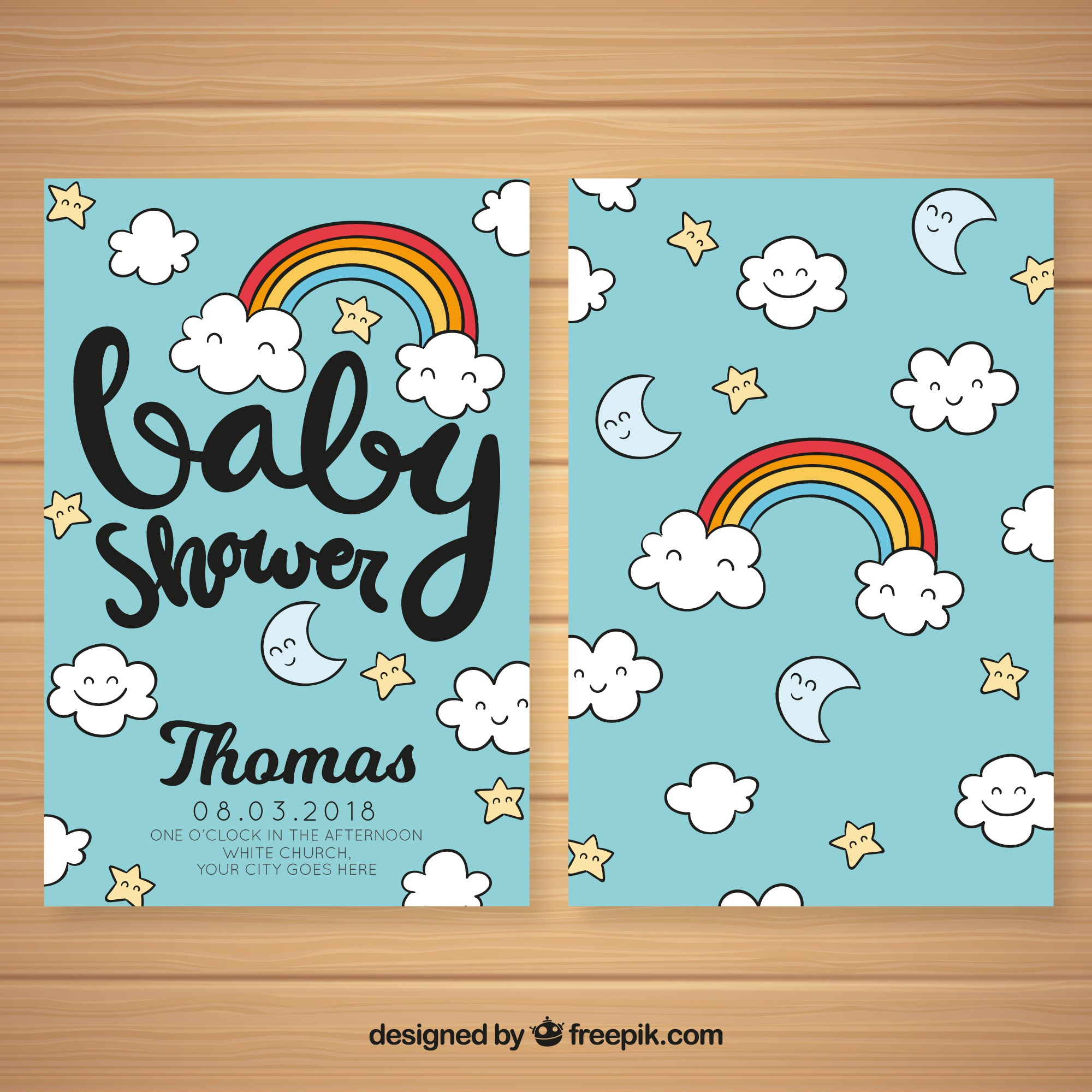 Baby shower invitation with cute elements