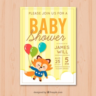 Baby shower invitation with cute fox in hand drawn style