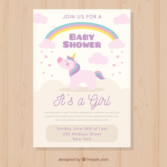 Baby shower invitation with cute unicorn