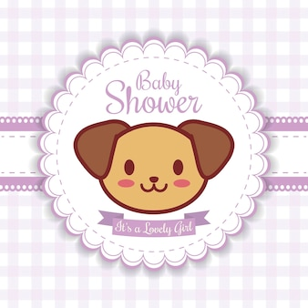 Baby shower invitation with dog icon