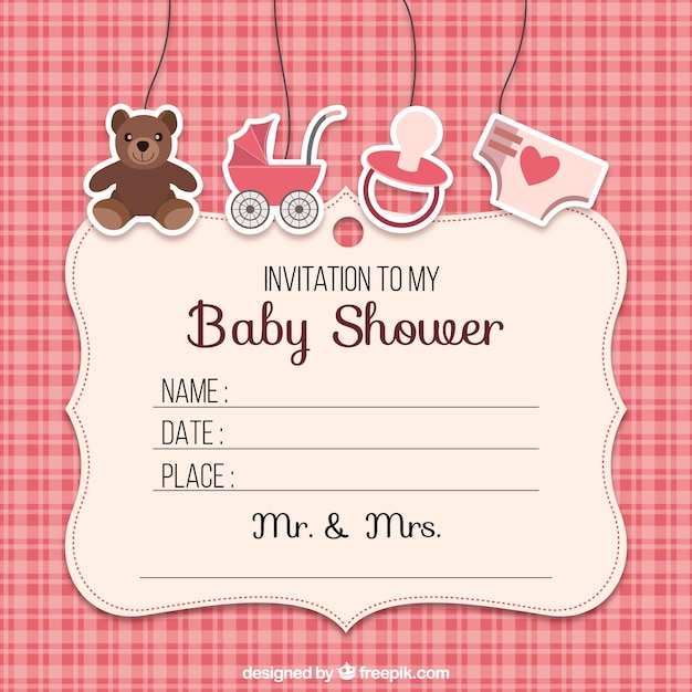 Baby shower invitation with elements