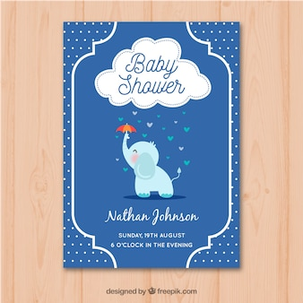 Baby shower invitation with elephant in hand drawn style