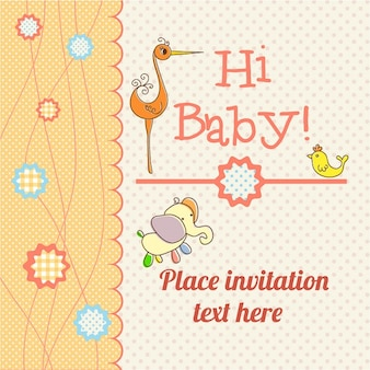 Baby shower invitation with an elephant and a stork