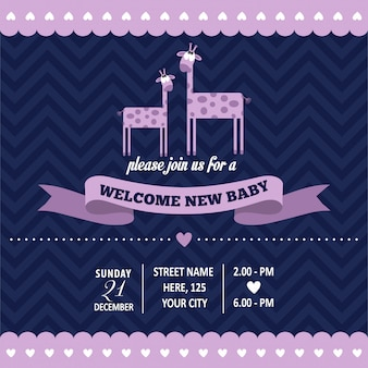 Baby shower invitation with giraffe in retro style