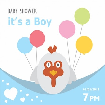 Bambino doccia invito con un design gallina