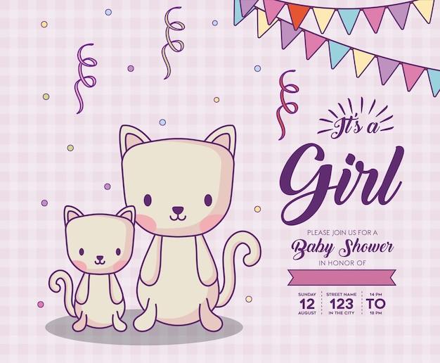 보라색 배경, 화려한 desig 위에 귀여운 고양이와 여자 개념으로 베이비 샤워 초대장