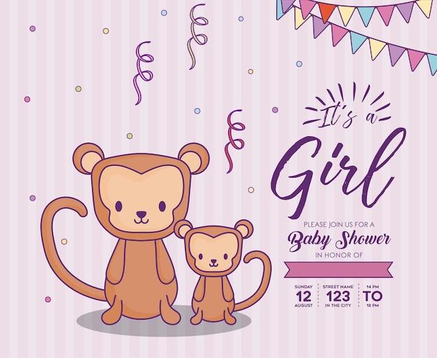 보라색 배경, 화려한 드 위에 귀여운 원숭이와 여자 개념으로 베이비 샤워 초대장