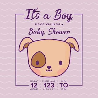 Baby shower invitation with its a boy concept with cute dog icon over purple background, colorful de
