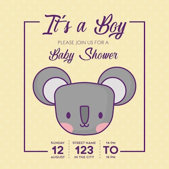 Baby shower invitation with its a boy concept with cute koala icon over yellow background, colorful