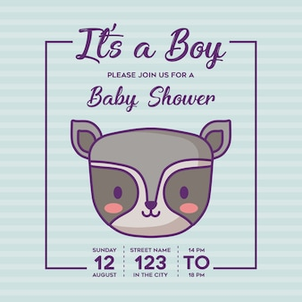 Baby shower invitation with its a boy concept with cute raccoon icon over blue background, colorful
