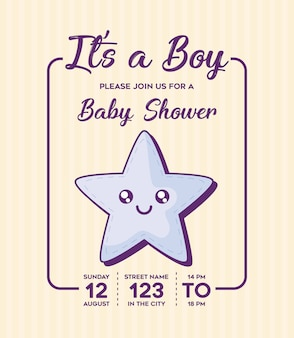 Baby shower invitation with its a boy concept with cute star icon over yellow background, colorful d