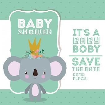 Baby shower invitation with koala cartoon