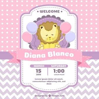 Baby shower invitation with lion in flat style