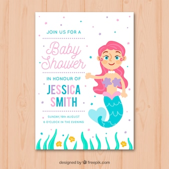 Baby shower invitation with mermaid in hand drawn style
