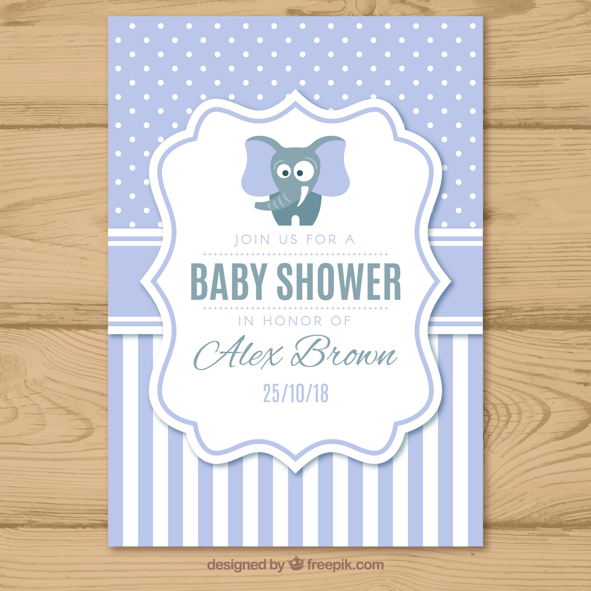 Baby shower invitation with pattern in flat style