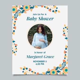 Baby shower invitation with photo (boy)