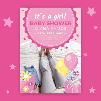 Baby shower invitation with picture of mother's legs