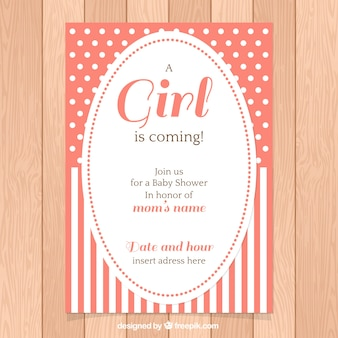 Baby shower invitation with polka dots and stripes